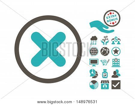 Cancel icon with bonus icon set. Vector illustration style is flat iconic bicolor symbols grey and cyan colors white background.