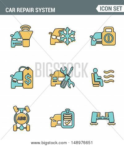 Icons line set premium quality of car repair system icon automobile instrument service. Modern pictogram collection flat design style symbol . Isolated white background