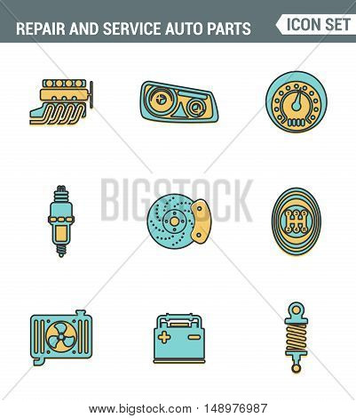 Icons line set premium quality of repair and service auto parts automotive tools garage. Modern pictogram collection flat design style symbol . Isolated white background