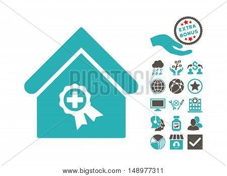 Certified Clinic Building icon with bonus clip art. Vector illustration style is flat iconic bicolor symbols grey and cyan colors white background.