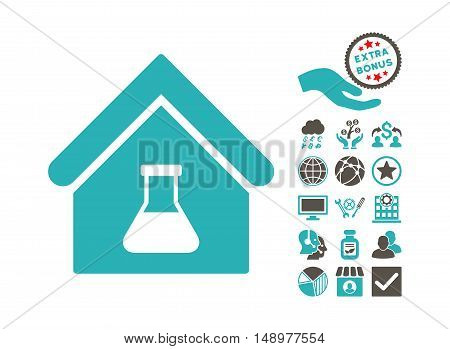 Chemical Labs Building pictograph with bonus clip art. Vector illustration style is flat iconic bicolor symbols grey and cyan colors white background.