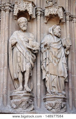 Basreliefs in the gothic cathedral of Palma de Mallorca, Spain