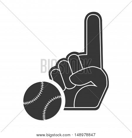 sport hand glove with baseball ball icon silhouette. vector illustration