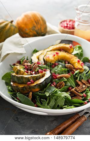 Fall salad with greens, nuts, pomegranate seeds and roasted acorn squash