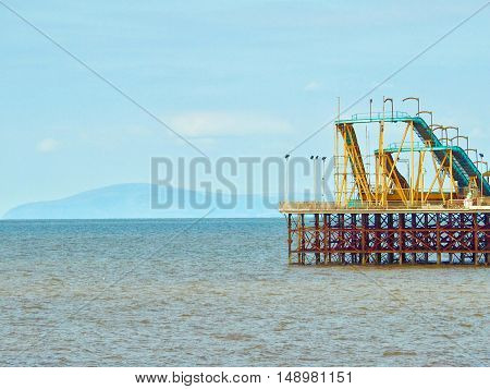 South Pier with fairground  ride at  Blackpool,Lancashire,Uk