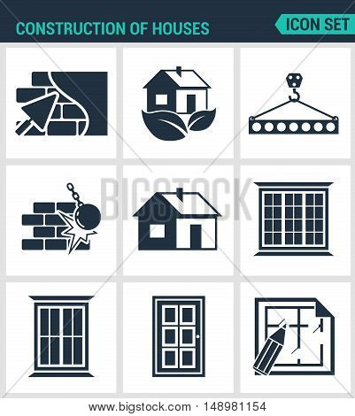 Set of modern vector icons. Construction of houses plaster walls eco-house bar tap break down the walls windows doors project. Black signs white background. Design isolated symbols silhouettes.