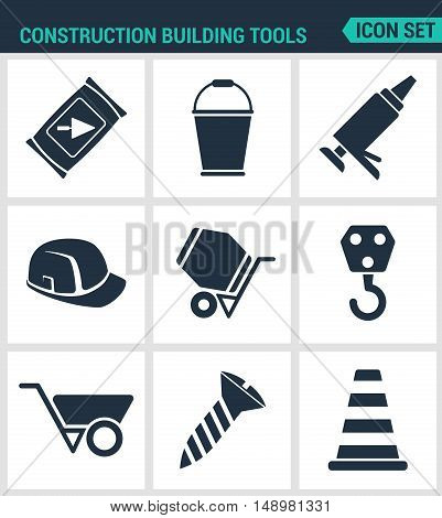 Set modern vector icons. Construction Building tools cement bucket silicone helmet concrete mixer crane tachanka screw cone. Black signs white background. Design isolated symbols silhouettes