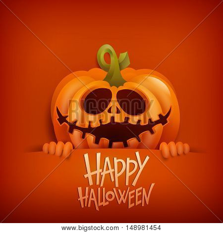 Happy Halloween card with smilin pumpkin character. Vector illustration