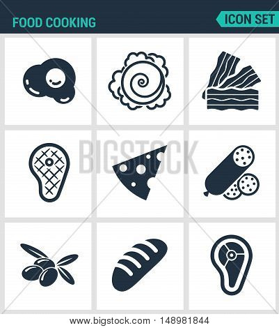 Set of modern vector icons. Food cooking egg cabbage bacon steak cue cheese sausage olives loaf meat. Black signs on a white background. Design isolated symbols and silhouettes