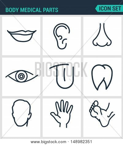 Set of modern vector icons. Body medical parts lips ears nostrils eyes tongue teeth head hand legs. Black signs on a white background. Design isolated symbols and silhouettes.
