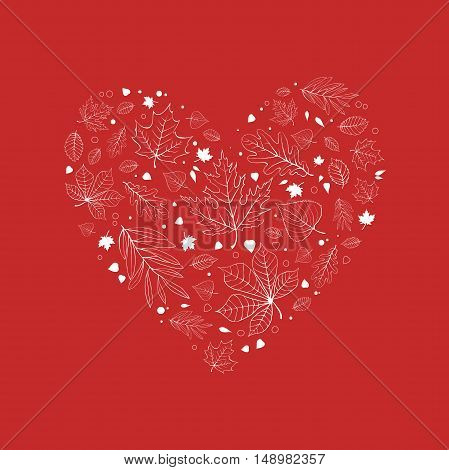 Autumn leaves heart design white outline on red background