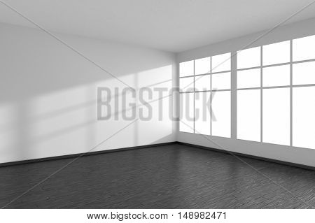 Black and white empty room with black hardwood parquet floor big window and white walls with sunlight from window minimalist interior 3d illustration