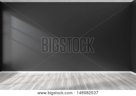 Black and white empty room with black wall white hardwood parquet floor and sunlight from window on the wall minimalist interior 3d illustration