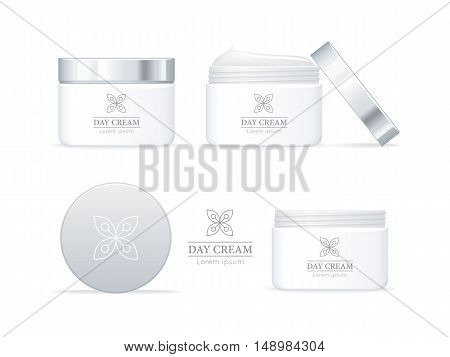 Day cream bottles set isolated. Collection of cosmetic product flasks with logo or symbol on the nameplate. Reservoir with label. Part of series of decorative cosmetics items. Vector illustration