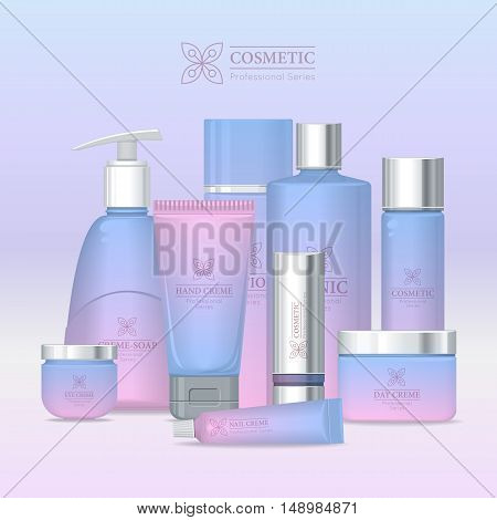 Professional series cosmetic set isolated. Hand cream, cream soap, eye cream, lotion, tonic, nail cream, day and night cream, shampoo, scrub. Part of series of decorative cosmetics items. Vector
