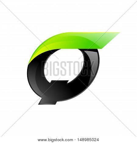 Q letter black and green logo design Fast speed design template elements for application.