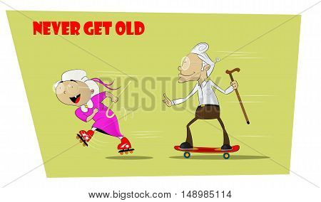 Fun and crazy senior people. She rides on roller skates, and grandfather goes after her on skateboard. Concept resilient seniors. Never aging and forever young. Vector comic illustration.