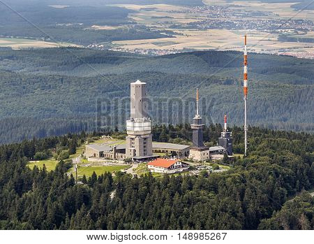 SCHMITTEN GERMANY - JULY 8 2007: top of Feldberg in Hesse Germany with tv tower. It is the highest mountain in Hesse.