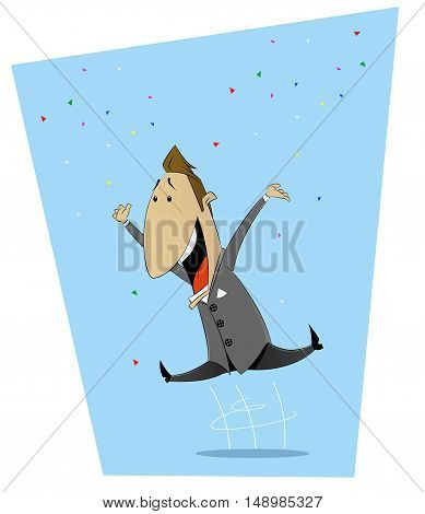 Cartoon jumping with happiness man. Good luck, happiness, luck, success concept illustration. Vector