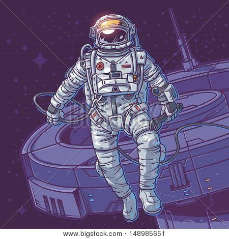 Vector illustration cosmonaut on the cosmic background. Astronaut close to a space station
