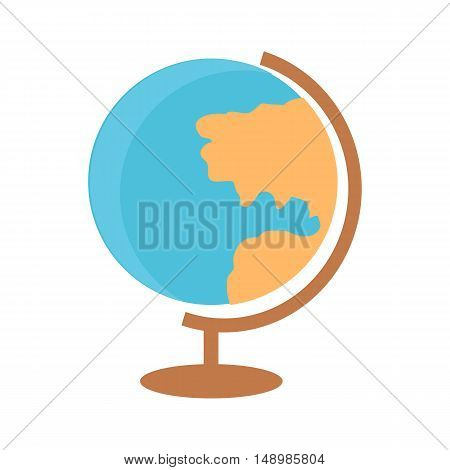 School desktop globe in flat. Geography school earth globe. World globe flat design icon. Globe icon. Isolated vector illustration on white background.