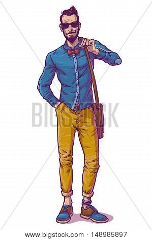 Vector illustration of a fashionable guy in sunglasses