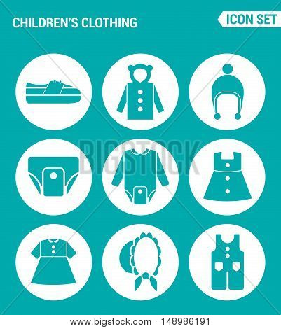 Vector set web icons. Children clothing shoes jacket raglan cap diapers clothes hat pants. Design of signs symbols on a turquoise background