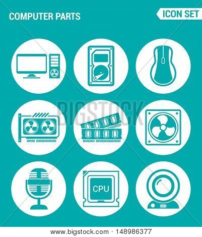 Vector set web icons. Computer parts hard drive mouse video card RAM cooler CPU webcam microphone. Design of signs symbols on a turquoise background