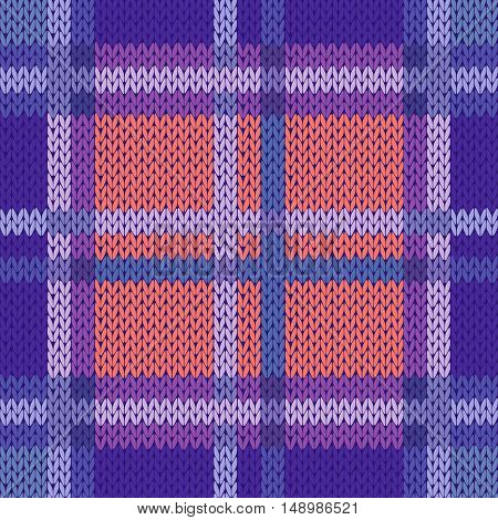 Seamless Knitted Pattern In Violet, Blue And Terracotta Hues