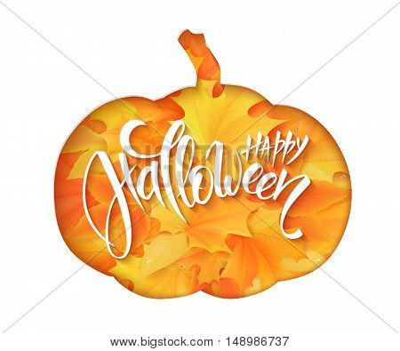 vector paper sheet with clipped pumpkin silhouette above yellow autumn maple leaves and hand lettering halloween greetings quote - happy halloween.