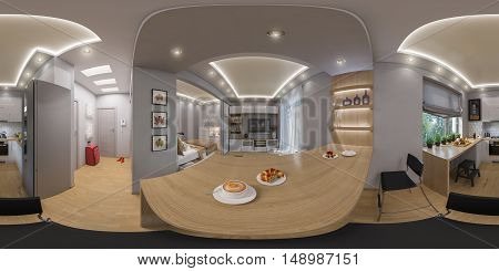 3D Rendering Spherical 360 Degrees, Seamless Panorama Of  Living