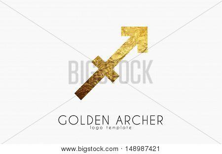 Golden archer. Golden zodiac sign. Archer zodiac