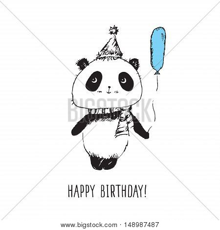 Happy birthday. Greeting card with panda. Hand drawn panda for your design.
