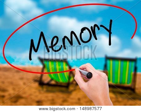 Man Hand Writing Memory  With Black Marker On Visual Screen