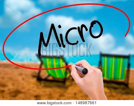 Man Hand Writing Micro With Black Marker On Visual Screen