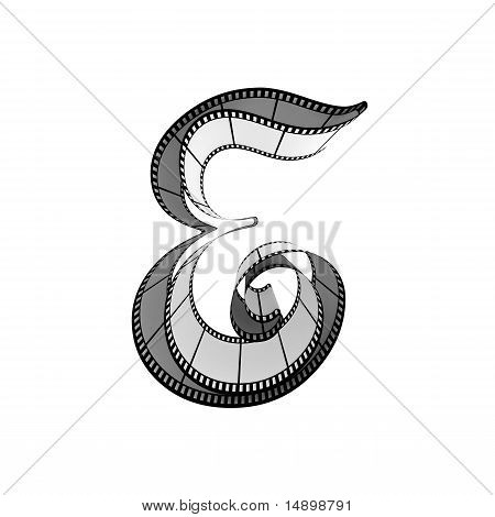 Filmstrip font. Front view. Letter e
