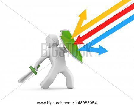 Defender with shield and sword - reflects attack. 3d illustration