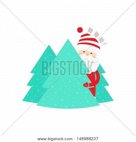 Christmas background with Santa Claus and Christmas trees. Vector illustration.