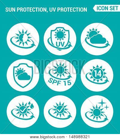 Vector set web icons. Sun uv light protection round the clock protection from weather cream SPF. Design of signs symbols on a turquoise background
