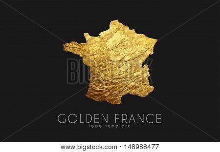 France map. Golden France logo. Creative France logo design