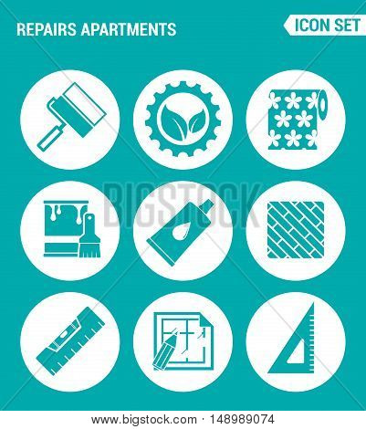 Vector set web icons. Repairs apartments roller gear wallpaper paint glue floor building level drawing apartments. Design of signs symbols on a turquoise background