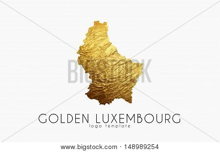 Luxembourg map. Golden Luxembourg logo. Creative Luxembourg logo design