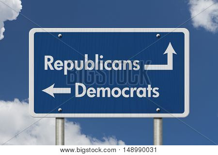 Difference between Republicans and Democrats Blue Road Sign with text Republicans and Democrats with sky background 3D Illustration