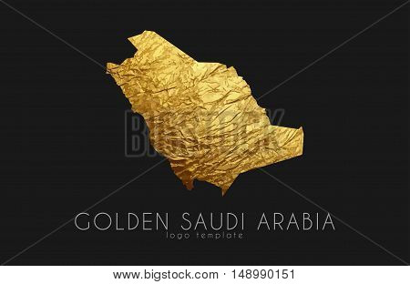 Saudi arab map. Golden Saudi Arab logo. Creative Saudi Arab logo design