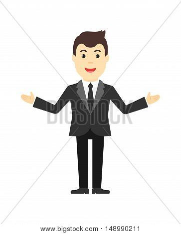 Happy man in a suit. Flat vector illustration.