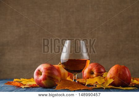 Cider - alcohol apple drink with fall leaves