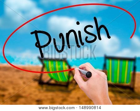 Man Hand Writing Punish With Black Marker On Visual Screen.