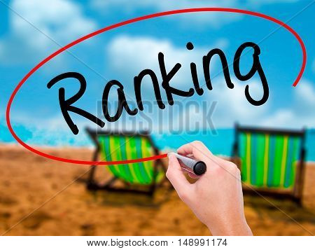 Man Hand Writing Ranking With Black Marker On Visual Screen