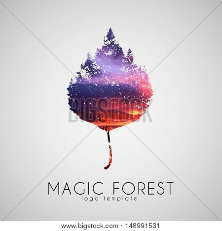 Magic forest logo. Leaf trees logo. Beautiful logo. Creative logo