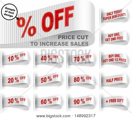 Clothes labels with percentage of price cuts and marketing phrases; Discount today only; Buy one get one free gift; Half price; 10; 50; % off; White vector set Eps10